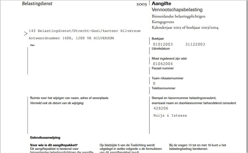 vennootschapsbelasting bij Ruijs & Istesso